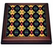 Bright Shields Tribal Geometric Abstract Pattern Textile Trivet