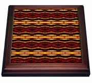 Fyre Trybe Tribal Retro Geometric Pattern Abstract Textile Trivet