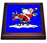 Santa On Deer Trivet
