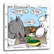 Isaiah 65 17 25 Cheese Tofu Bugers in Paradise Bible earth heaven paradise wolf sheep lamb lion Wall Clock