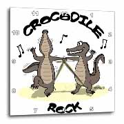 Out to Lunch Cartoon Crocodile Rock Wall Clock