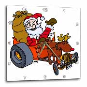 Nelson Deweys Reindeer Powered Santa Dragster Sleigh Wall Clock