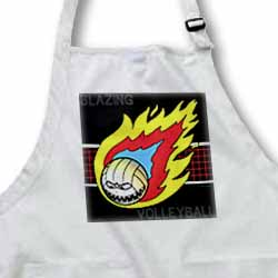 Blazing Angry Volleyball Crossing the Net Apron