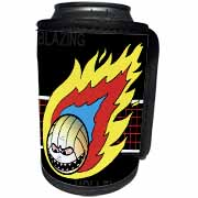 Blazing Angry Volleyball Crossing the Net Can Cooler Bottle Wrap