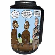 Dr. Jane Goodalls 50th anniversary at GDI - monkey business Can Cooler Bottle Wrap