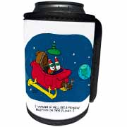 Nelson Dewey - Alien Craft Resembles Santas Sleigh Can Cooler Bottle Wrap