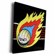 Blazing Angry Volleyball Crossing the Net Museum Grade Canvas Wrap