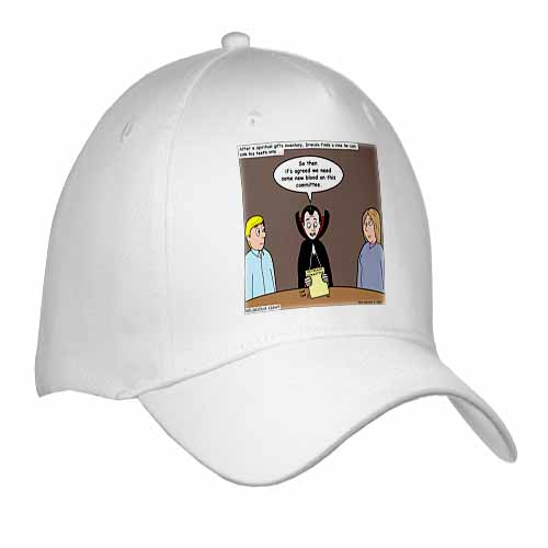 Dracula on the Church Outreach Committee Cap