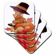 Vintage Pilgrim Boy on Pumpkin Coaster
