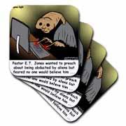 Religious Light Cartoon - Pastor ET Jones Alien Abduction Coaster