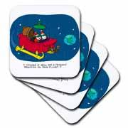 Nelson Dewey - Alien Craft Resembles Santas Sleigh Coaster
