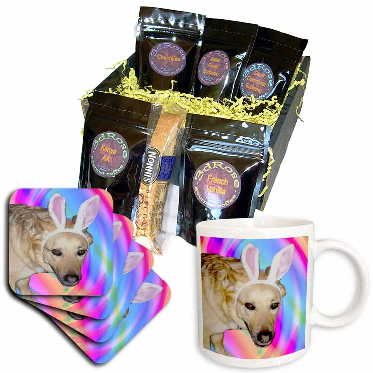 Easter German Shepherd Dog Coffee Gift Basket