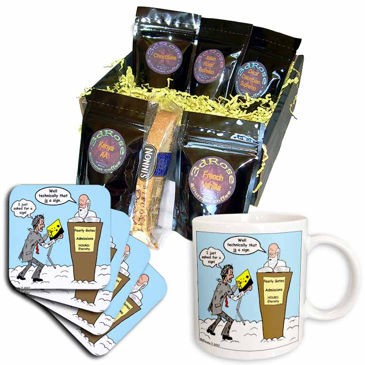 St. Peter Cartoon with a Sign Coffee Gift Basket