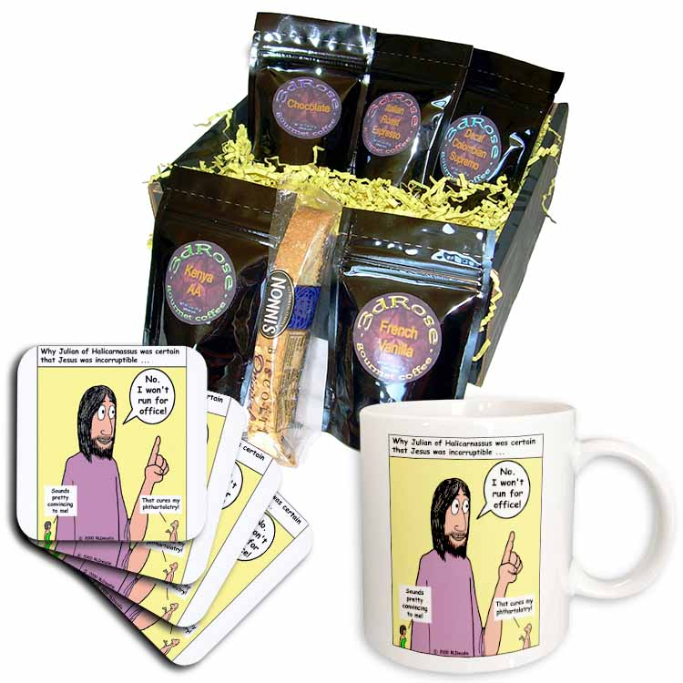 Theology Cartoon about Aphthartodocetism Coffee Gift Basket