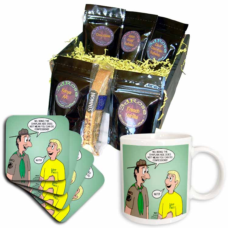 KNOTS cartoon - Scout confession and the chaplain aide Coffee Gift Basket