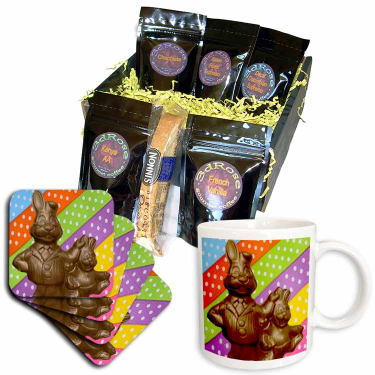 Chocolate Father and Son Bunnies Coffee Gift Basket