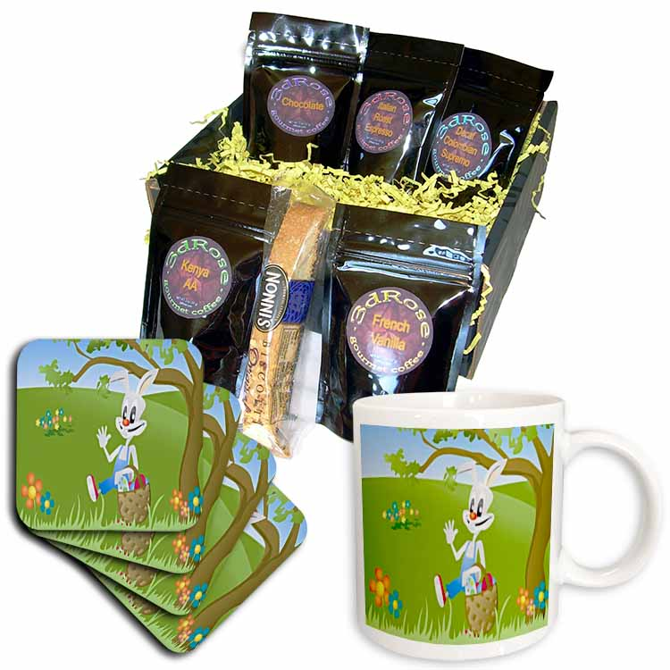 Cartoon Easter Bunny Coffee Gift Basket