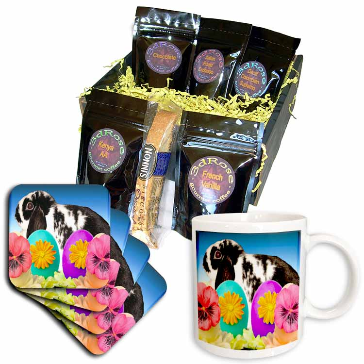 Rabbit and Decorative Eggs Coffee Gift Basket