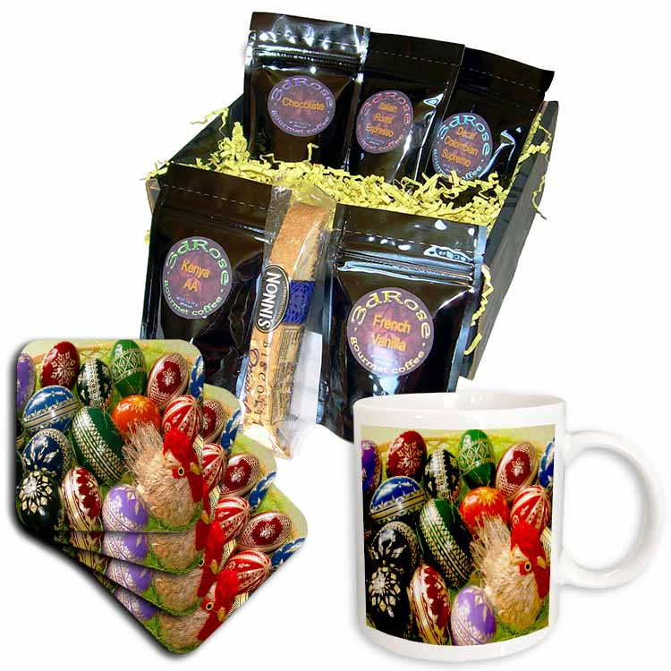 Chick and Decorative Easter Eggs Coffee Gift Basket