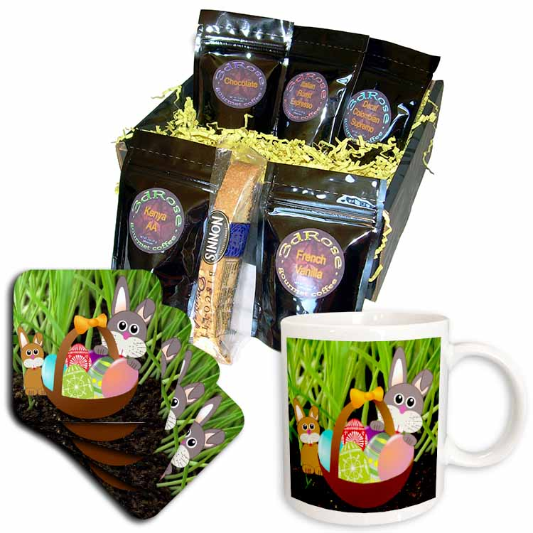 Rabbits and Easter Basket Coffee Gift Basket