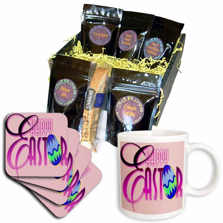 Easter Greeting in Purple Coffee Gift Basket
