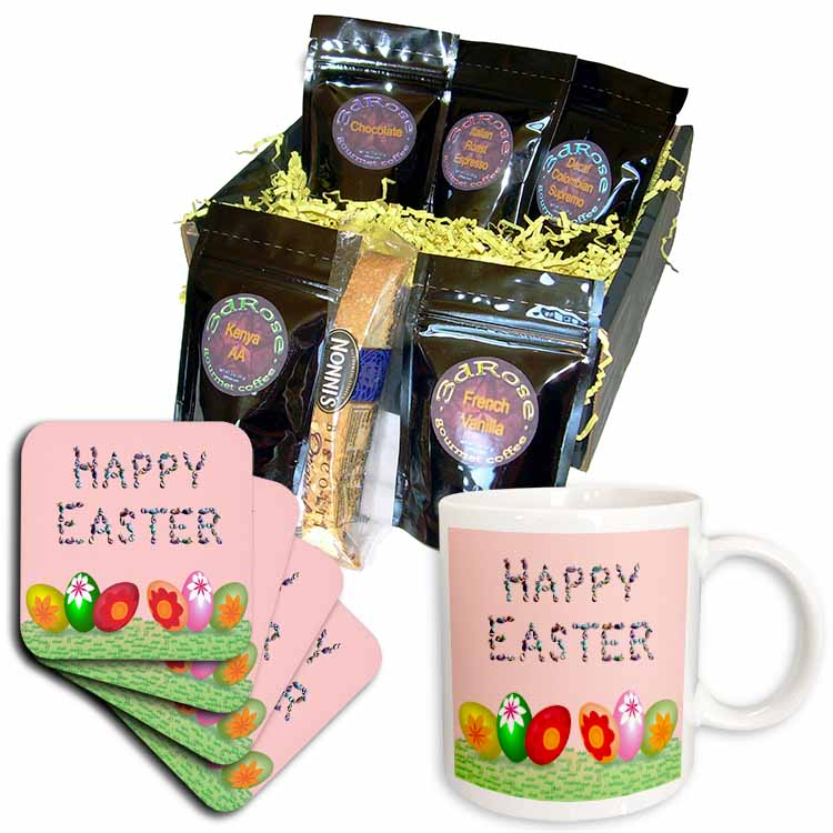 Easter Greeting and Eggs Coffee Gift Basket