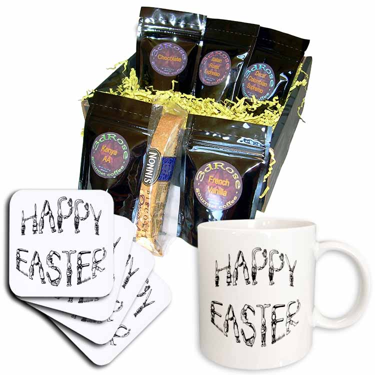 Easter Greeting and Rabbits  Coffee Gift Basket