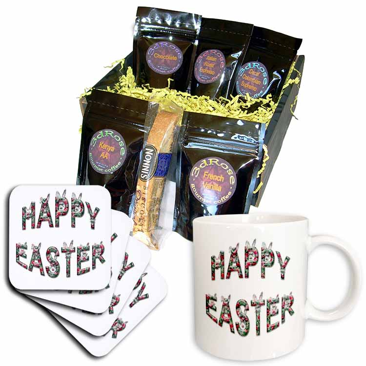 Easter Greeting Rabbit Faces with Flower Print Coffee Gift Basket