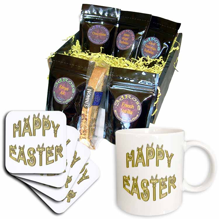 Easter Greeting Rabbit Faces in Gold Coffee Gift Basket