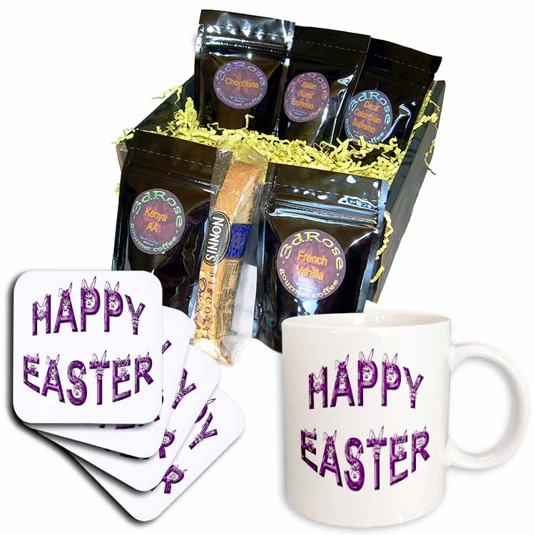 Easter Greeting Rabbit Faces Font in Purple Coffee Gift Basket