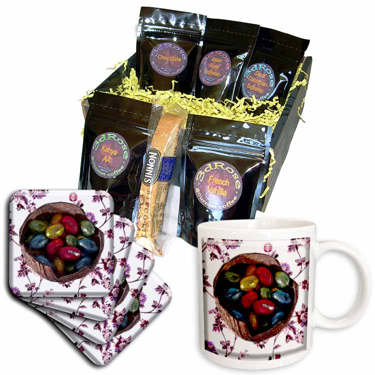 Chocolate Eggs in Coconut Shell and Flower Tile Coffee Gift Basket