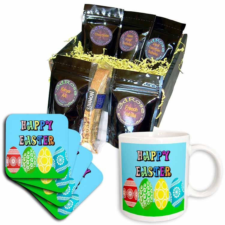 Colorful Easter Greeting and Eggs Coffee Gift Basket