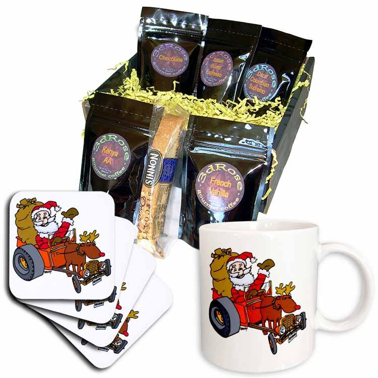 Nelson Deweys Reindeer Powered Santa Dragster Sleigh Coffee Gift Basket