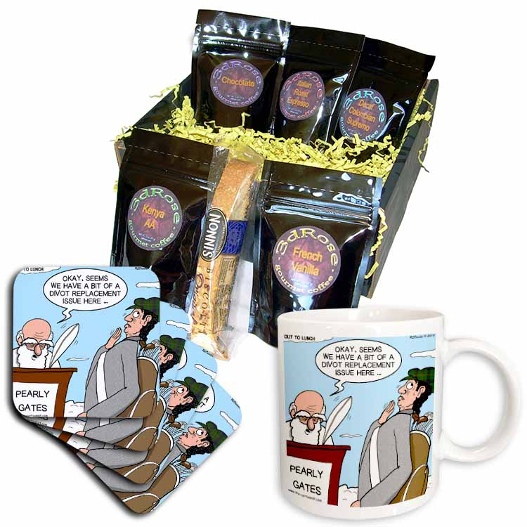 Heaven - St. Peter and the Golf Divot Replacement Sin of Omission Coffee Gift Basket