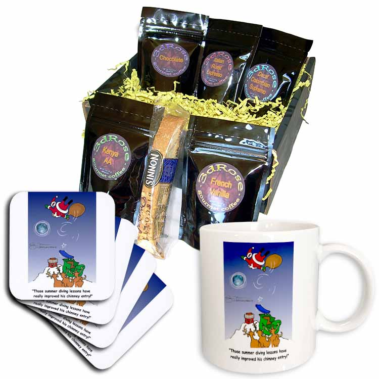 Larry Miller - Santa Takes Advantage of His Diving Lessons Coffee Gift Basket