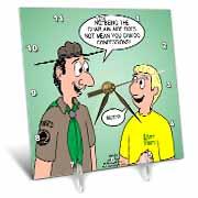 KNOTS cartoon - Scout confession and the chaplain aide Desk Clock