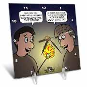 Knots Cartoon - Burnt Marshmallow smores - yum Desk Clock