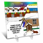 Simple Nativity Wins Neighborhood Christmas Display Contest Desk Clock
