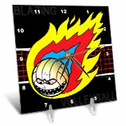 Blazing Angry Volleyball Crossing the Net Desk Clock