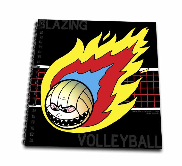 Blazing Angry Volleyball Crossing the Net Drawing Book