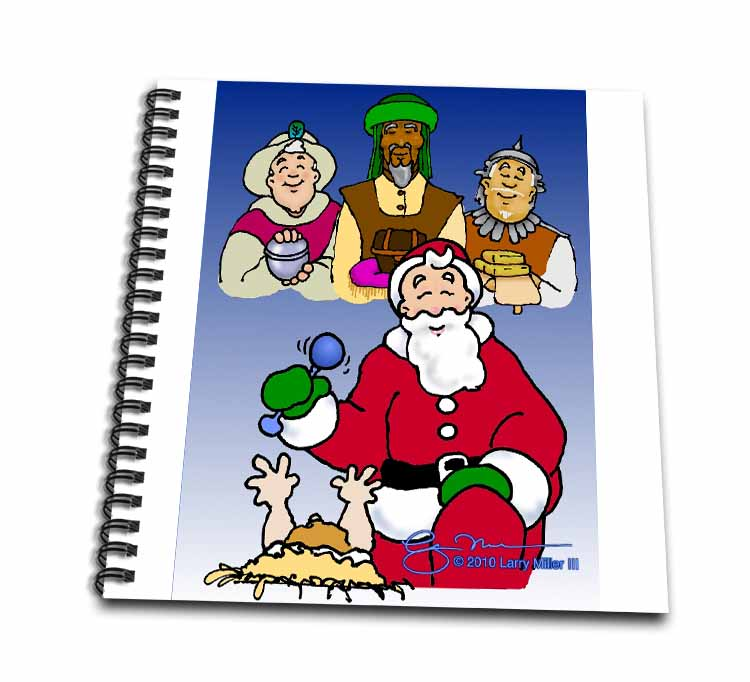 Larry Miller - Tribute to the Baby Jesus by the 3 Wisemen and Santa Drawing Book
