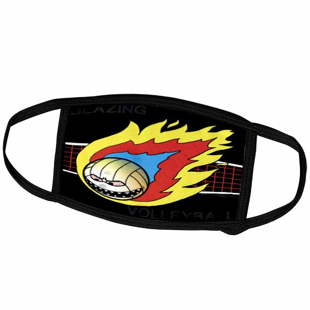 Blazing Angry Volleyball Crossing the Net Face Mask