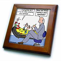 Pastor Problems with Clown Ministry Framed Tile
