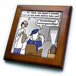 Famous Duck at the Eye Doctor Framed Tile