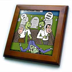 Halloween - Zombie Practical Jokes - Clinton and Nixon Masks Framed Tile
