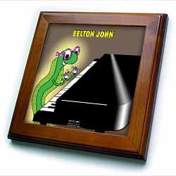 Eelton John the piano player Framed Tile