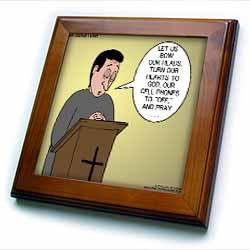 Prayer and Cell Phones Framed Tile