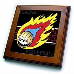 Blazing Angry Volleyball Crossing the Net Framed Tile