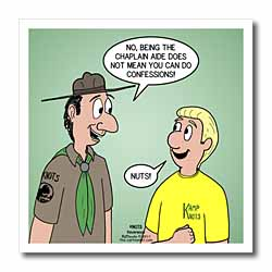 KNOTS cartoon - Scout confession and the chaplain aide Iron on Heat Transfer