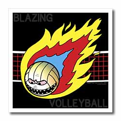 Blazing Angry Volleyball Crossing the Net Iron on Heat Transfer